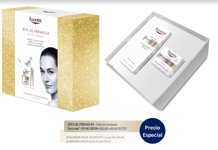 EUCERIN HYALURON FILLER ELASTICITY COFRE RITUAL PREMIUM. CREMA DE DIA 50 ML+ACEITE FACIAL 50ML